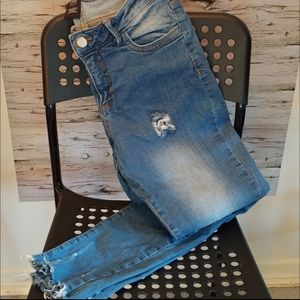 Size 7 High Rise Distressed Mom Jeans with Raw Hem
